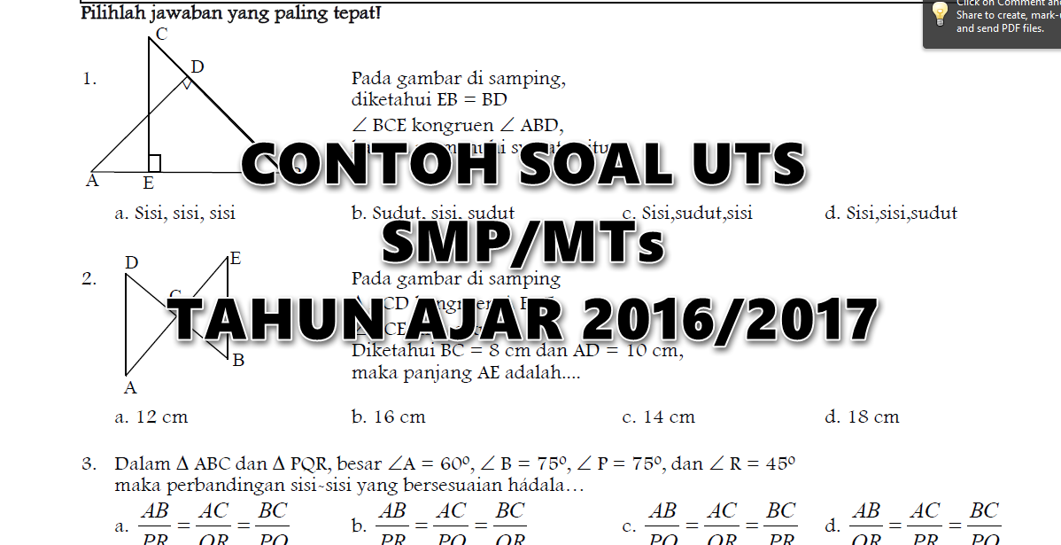 Contoh Soal Uts Smp Mts Lengkap Tahun Ajar 2016 2017
