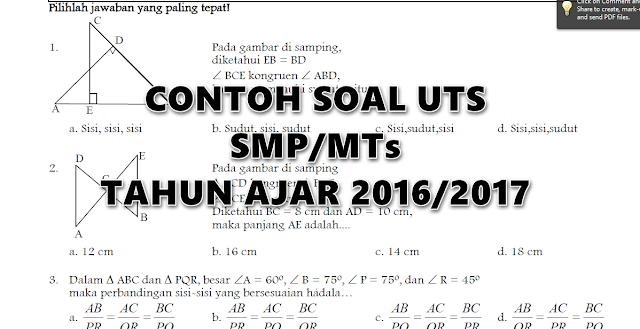 Contoh Soal UTS SMP/MTs 2016/2017