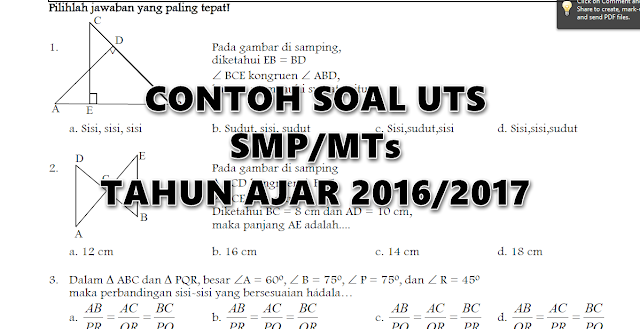 Soal - Soal UTS SMP/MTs Semester 1 dan 2 Tahun Ajar 2016/2017