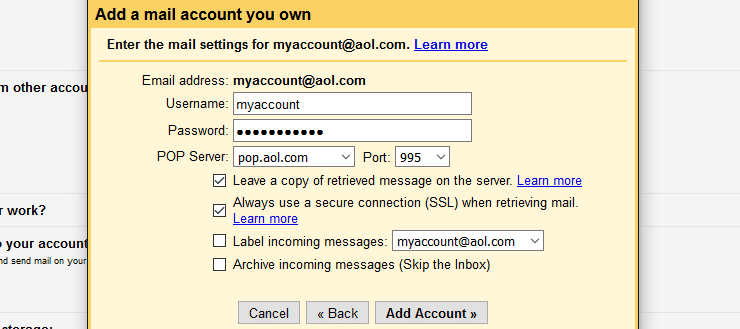 AOL email POP3 server settings in Gmail
