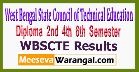 WBSCTE West Bengal State Council of Technical Education Diploma 2nd 4th 6th Semester Results 2017
