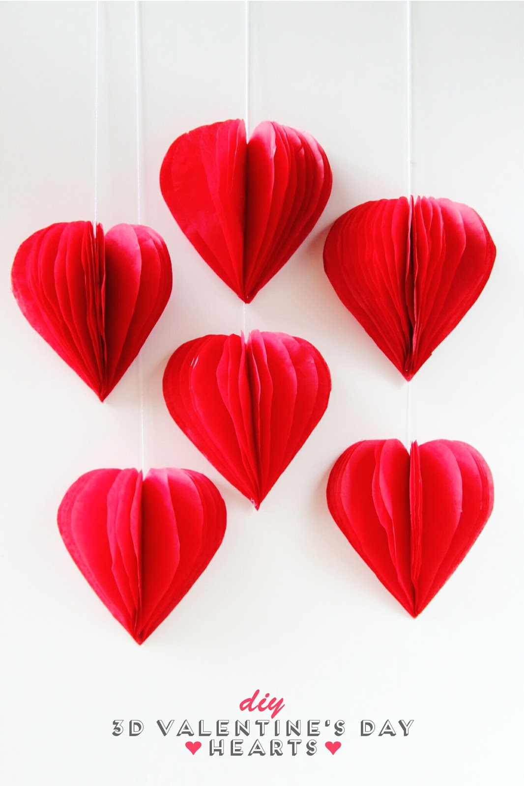 Diy 3D Valentine's Day Tissue Paper Heart Decorations