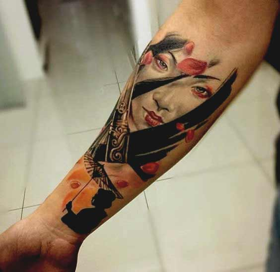 Realistic geisha face tattoo designs on inner forearm and wrist