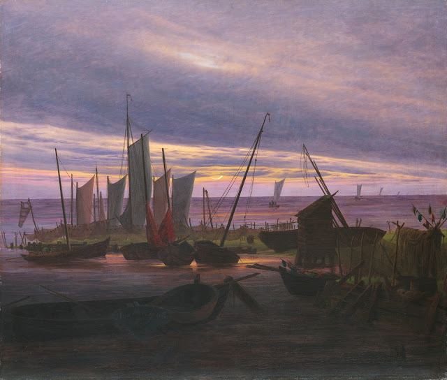 Boats in the Harbour at Evening Caspar David Friedrich c. 1828