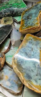 raw jadeite and nephrite jade rocks