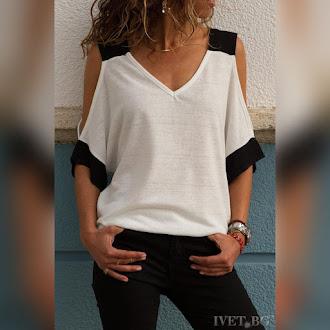 Κοντομάνικη εκρού -  μαύρη γυναικεία μπλούζα IRENA