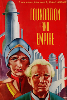 "Cover art for Isaac Asimov's science fiction novel ""Foundation and Empire""."