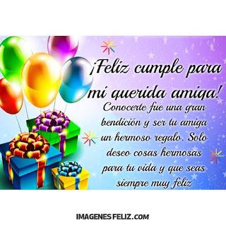 Feliz Cumpleaños mejor Amiga Bello mensaje con obsequios y globos de colores
