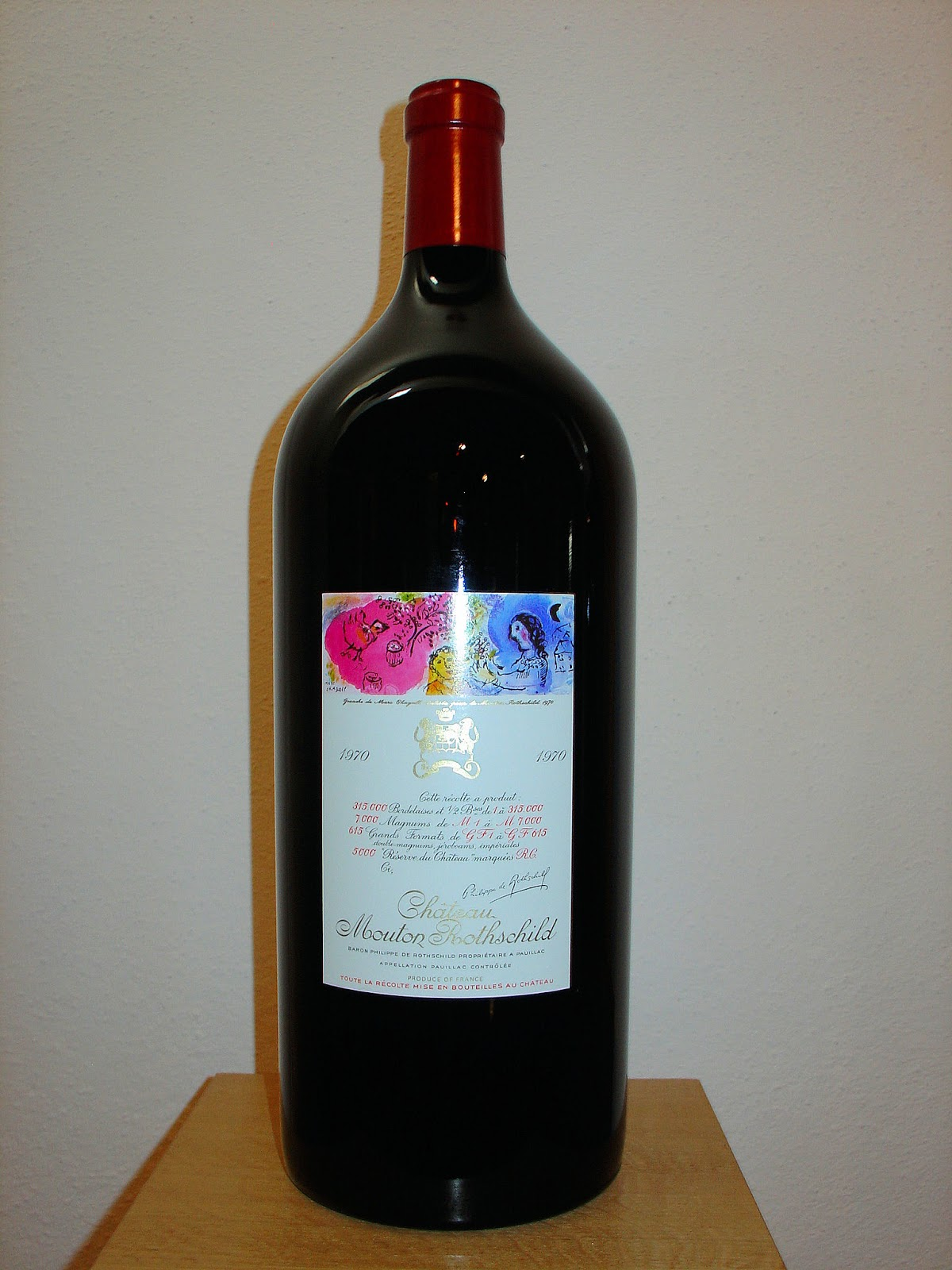 Chateau Mouton-Rothschild magnum from 1970. Original Chagall artwork decorates the label.