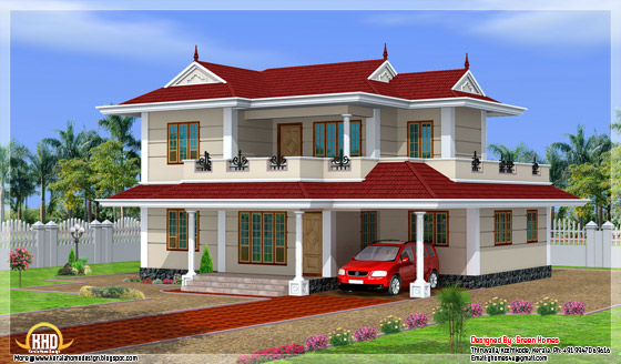2550 square feet 4 bedroom double storey India house