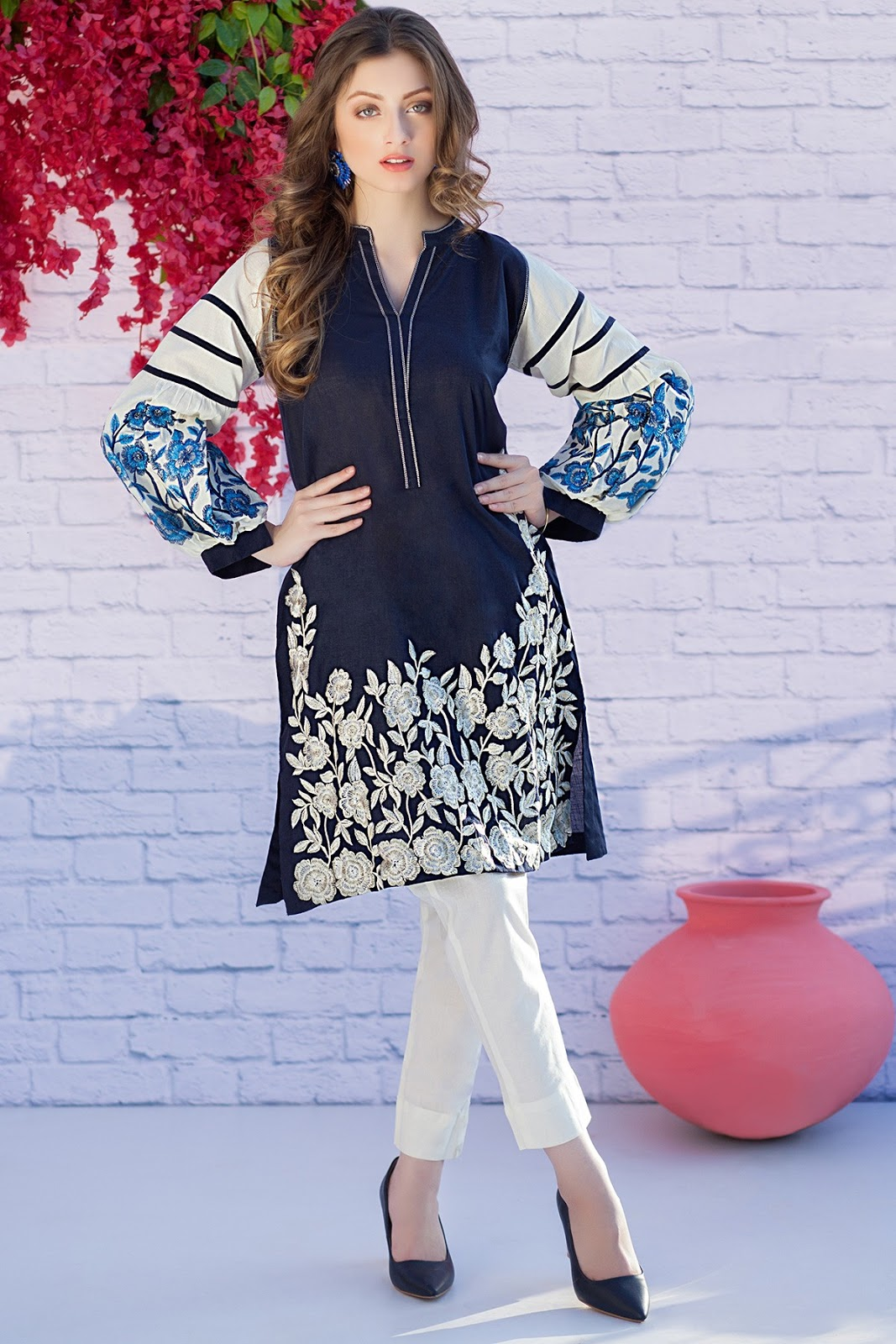 9fa092caf5 Very summery color & intricate embroidery with raglan sleeves makes this  dress standout. at February 17, 2018