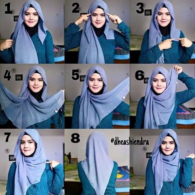 25 Tutorial Hijab Segi empat Terbaru 2018  Simpel Modern