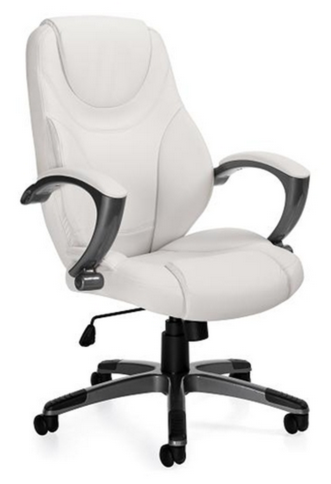 White Luxhide Leather Chair