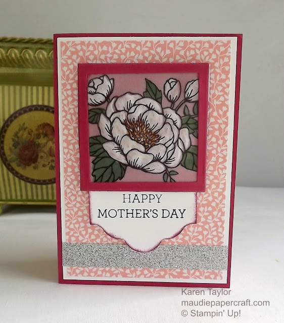 Stampin' Up! Birthday Blooms embossed vellum Mother's Day card