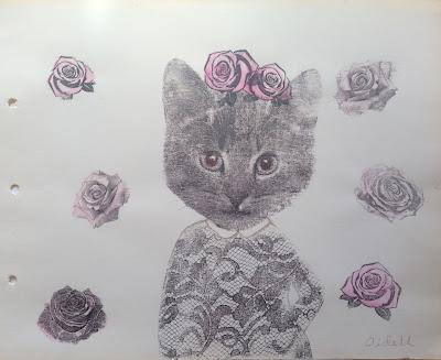 #Aide #Leit-Lepmets #roosiline Kiisu #kass #graafika #pits #kunst #näitus haapsalu pitsikeskuses