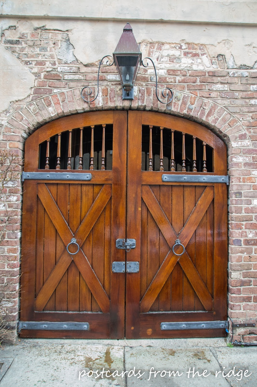 This old wooden door from the French quarter in Charleston, SC is simple stunning. Postcards from the Ridge.