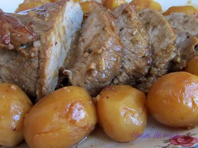 Ternera asada con patatitas en cazuela