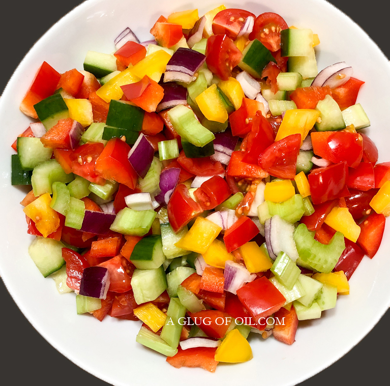 Chopped Salad of Peppers, Onions, Cucumber, Celery and Tomatoes