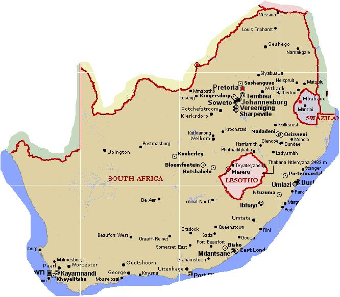 Lesotho - contained within the country of South Africa