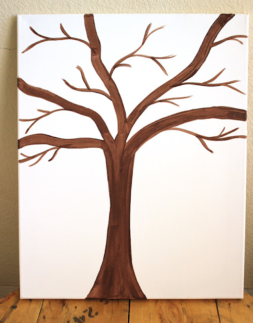 Tree trunk and limbs painted on canvas for button art