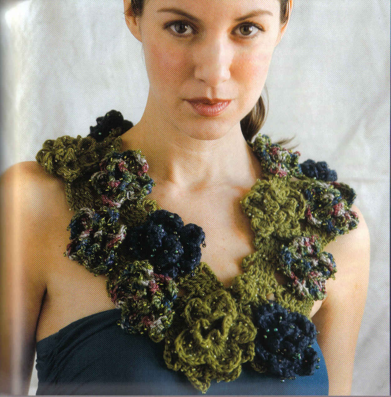 Cuello Collar de Flores Crochet