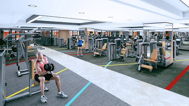 Phòng tập gym hiện đại tại tầng 5