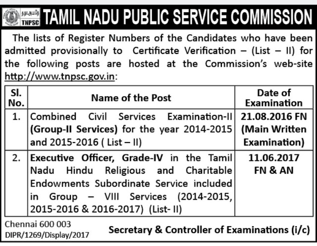 TNPSC Group II Services (CCSE 2)  - Certification Verification List II