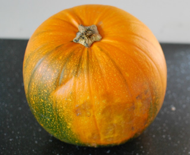 green and marked pumpkin