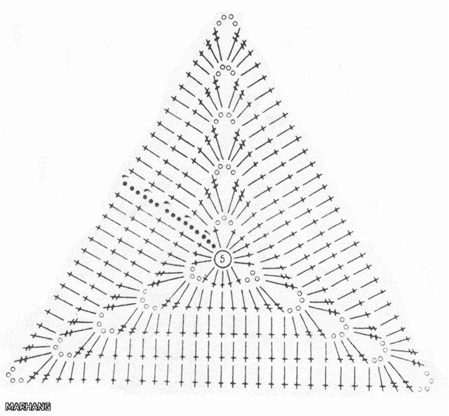 Как связать крючком треугольник схема