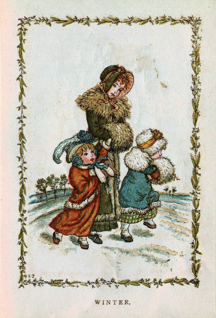 Vintage drawing of woman and children walking through snow.