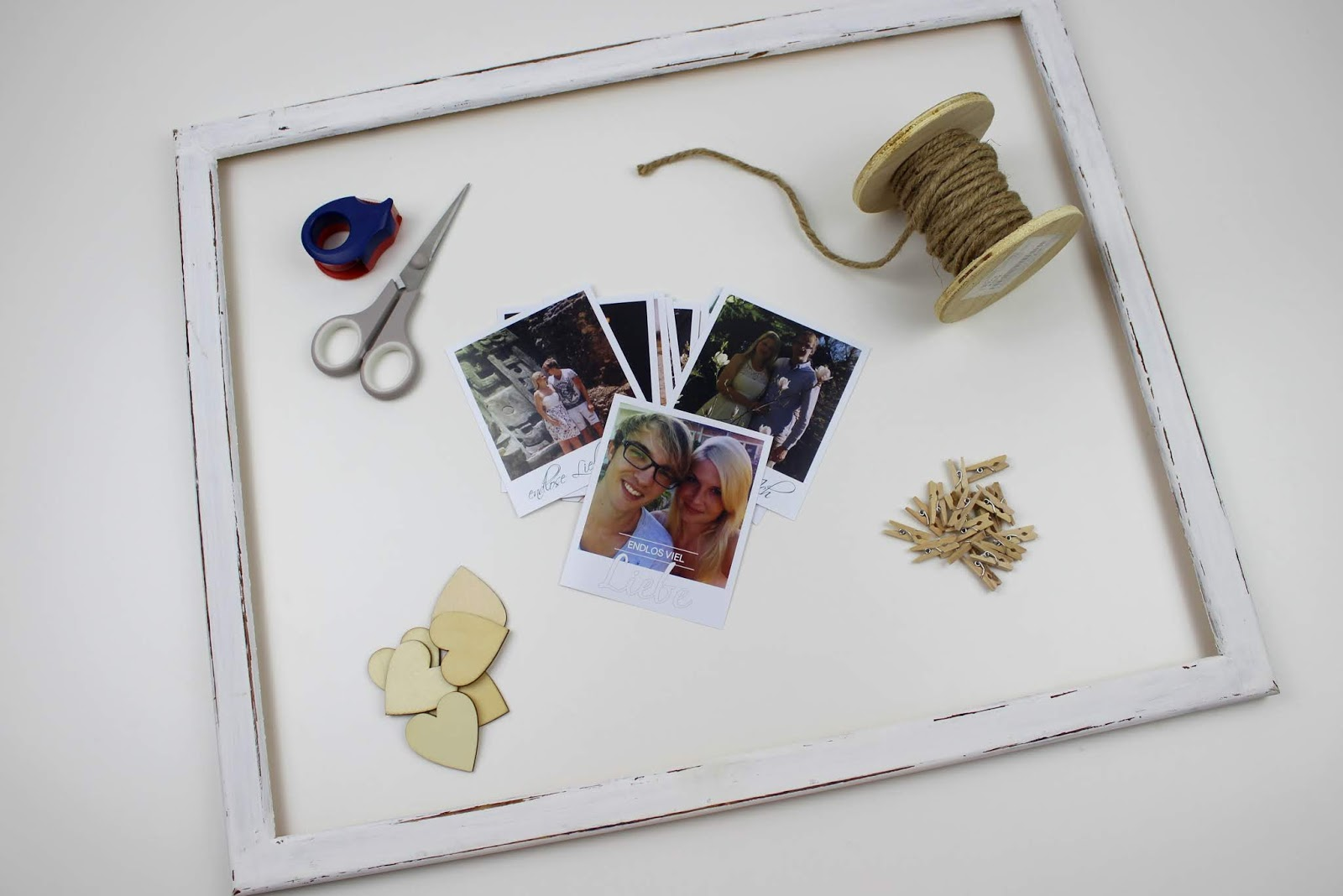 DIY: ausgefallener Bilderrahmen mit Fotos im Polaroid Stil selber machen - die perfekte Wanddeko