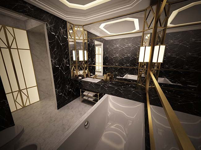 Luxury bathroom design with Art Deco style