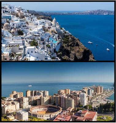 Vistas de Santorini y de Málaga capital.