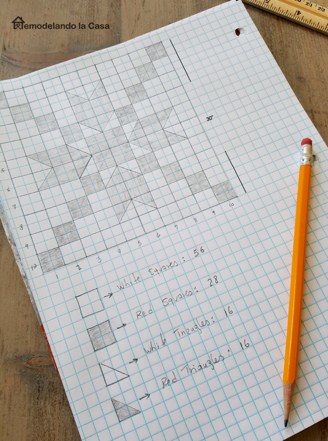 graph paper with the design of a star or snowflake quilt design, No 2 pencil and wooden ruler