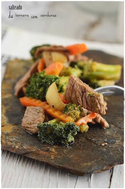 Salteado de ternera con verduras