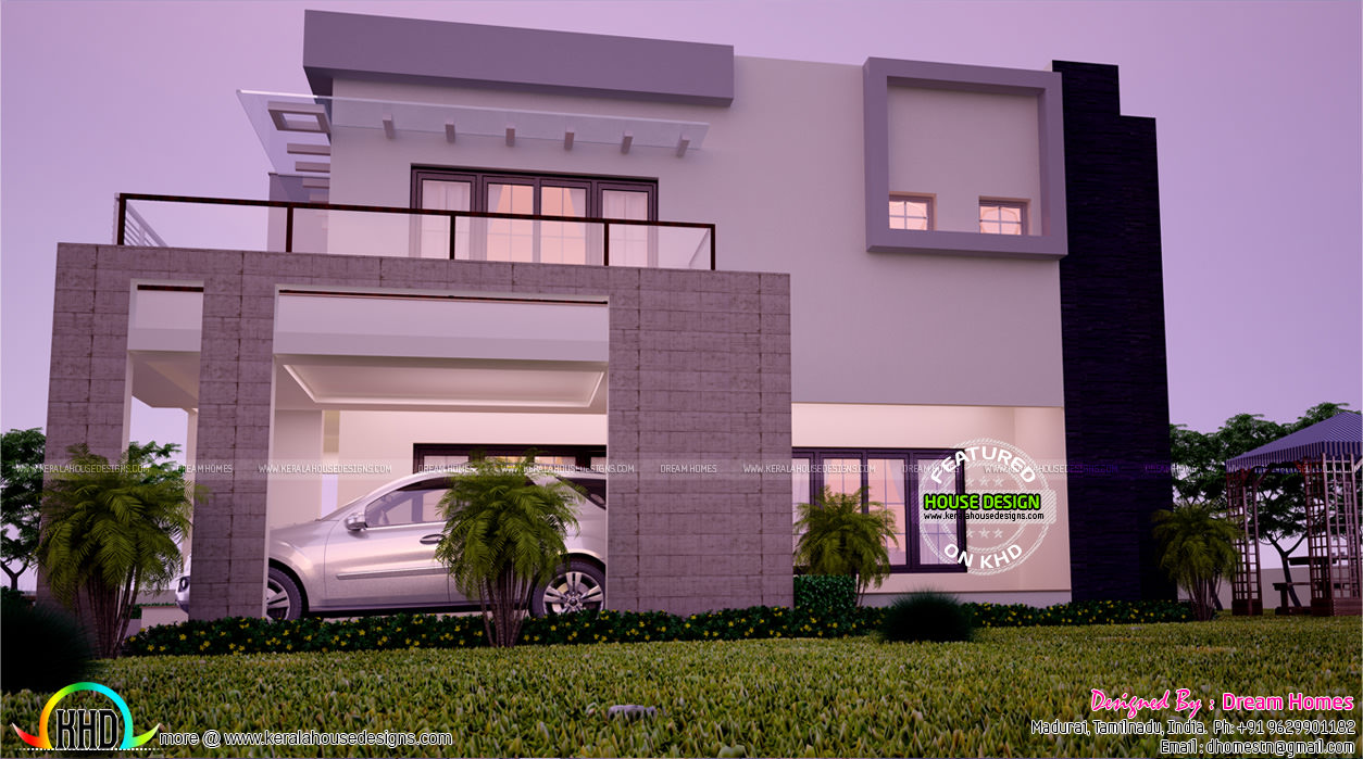 Contemporary home all side views kerala home design for Car porch designs for houses