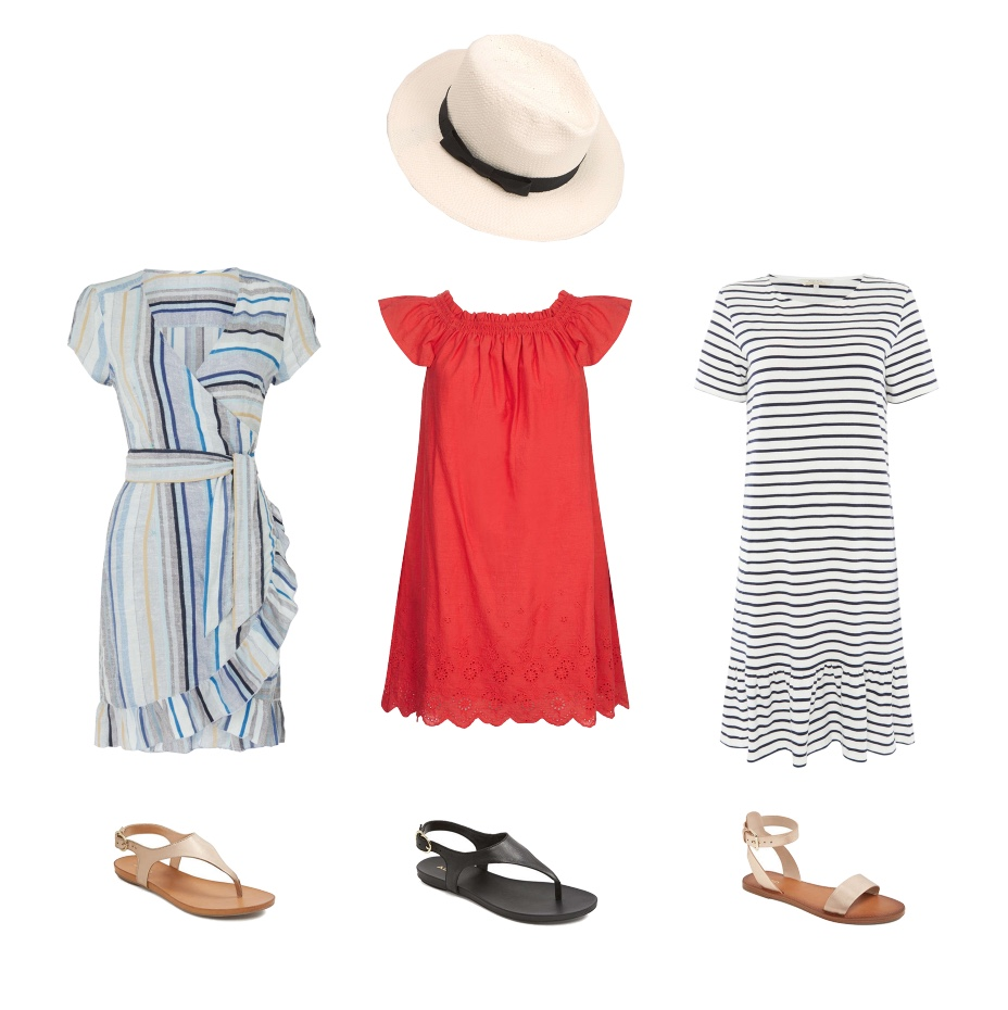 my midlife fashion, house of fraser, house of fraser summer dresses, free people cap sleeve striped wrap midi dress with frill hem, aldo jerilassi sandals, mint velvet cream panama hat, yumi ruched collar embroidered shift dress, also campordoro sandals, people tree short sleeve stripe dress