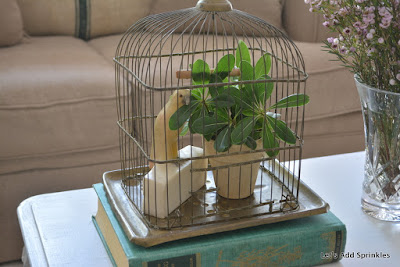 brass bird cage, marble parrot bookend, greenery