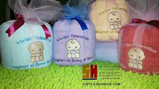 pusat souvenir handuk kelahiran bayi kemas kain tile + pita
