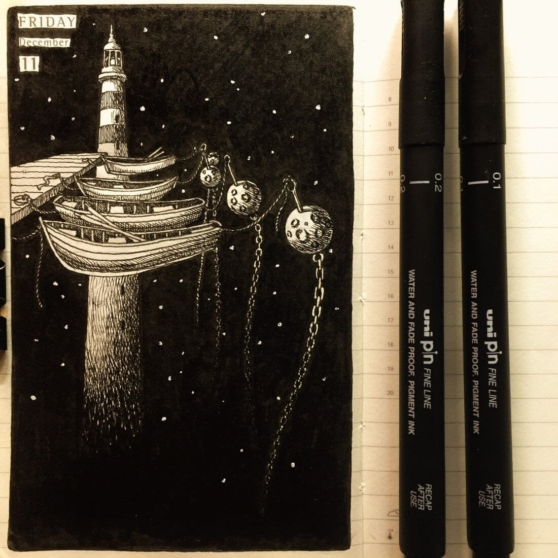 11-Going-on-a-Boat-Trip-Nina-Johansson-Moleskine-Diary-of-Surreal-Ink-Drawings-www-designstack-co