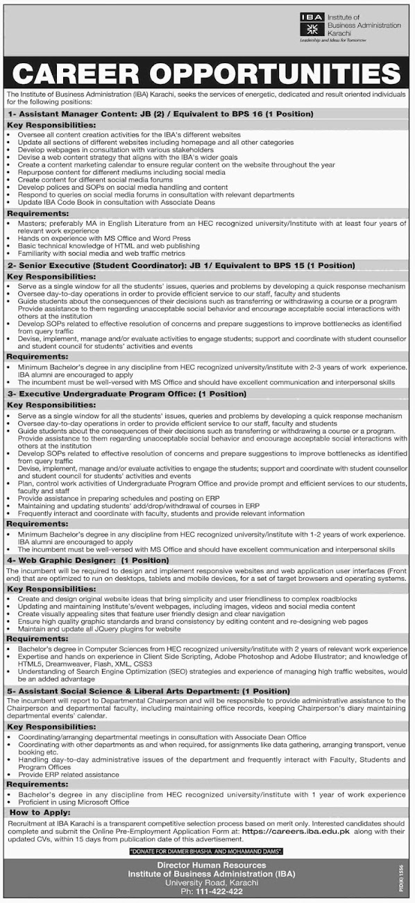 #Jobs - #Career_Opportunities #Jobs at IBA – Institute of Business Administration Karachi