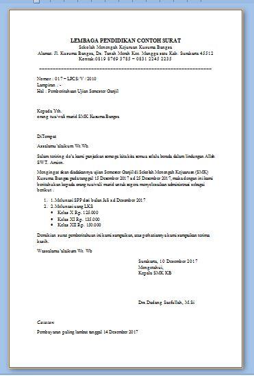 Contoh Surat Pemberitahuan Ujian Semester Sekolah dan Pelunasan Pembayaran