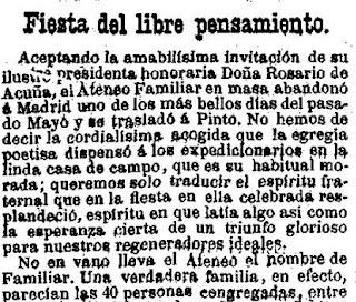 Fragmento de la crónica de la fiesta celebrada por el Ateneo Familiar