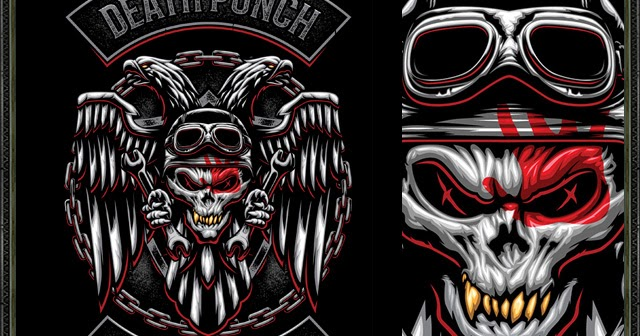 Burntilldead: Five Finger Death Punch - Biker Badge (Vector)