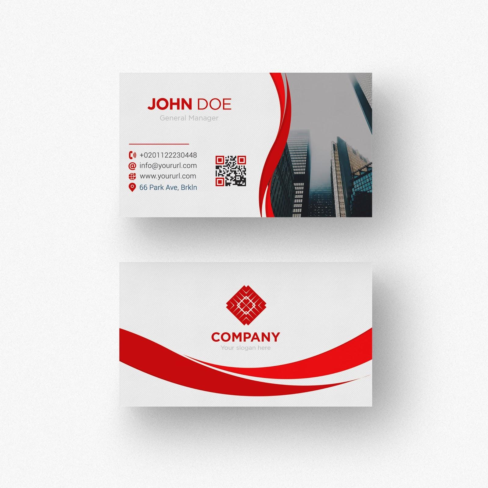 تحميل ملف Psd Business Card جاهز للتعديل على الفوتوشوب Red And