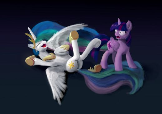 Twilight is looking at laughing Princess Celestia