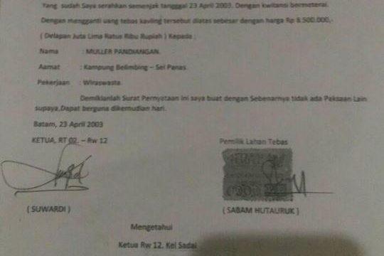 """Muller: Kronologis Lahan KP.Sei Nayon  """"Ganti Tebas Tahun 2003"""""""