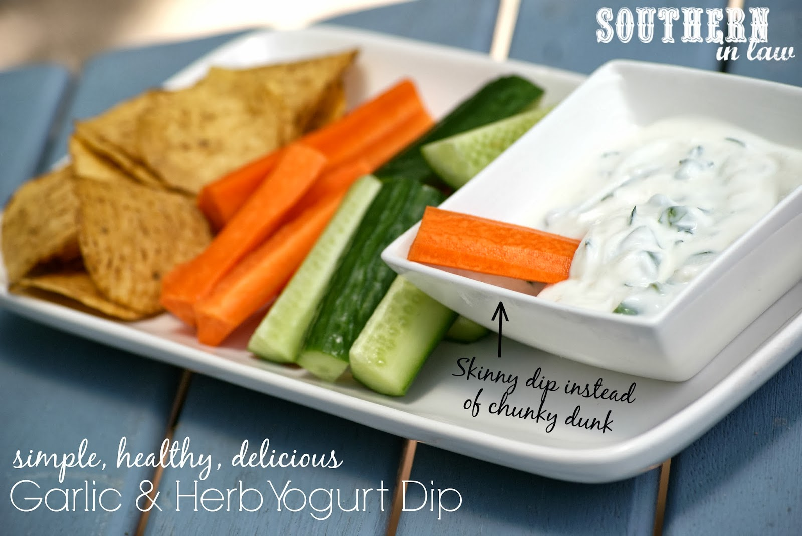 Healthy Garlic and Herb Yogurt Dip with Corn Chips and Vegetable Crudites - Healthy, Gluten Free, Low Fat, Clean Eating Friendly, Sugar Free