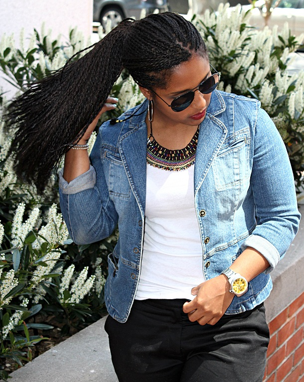 Senegalese Twist Ponytails And Professional Denim Comme Coco