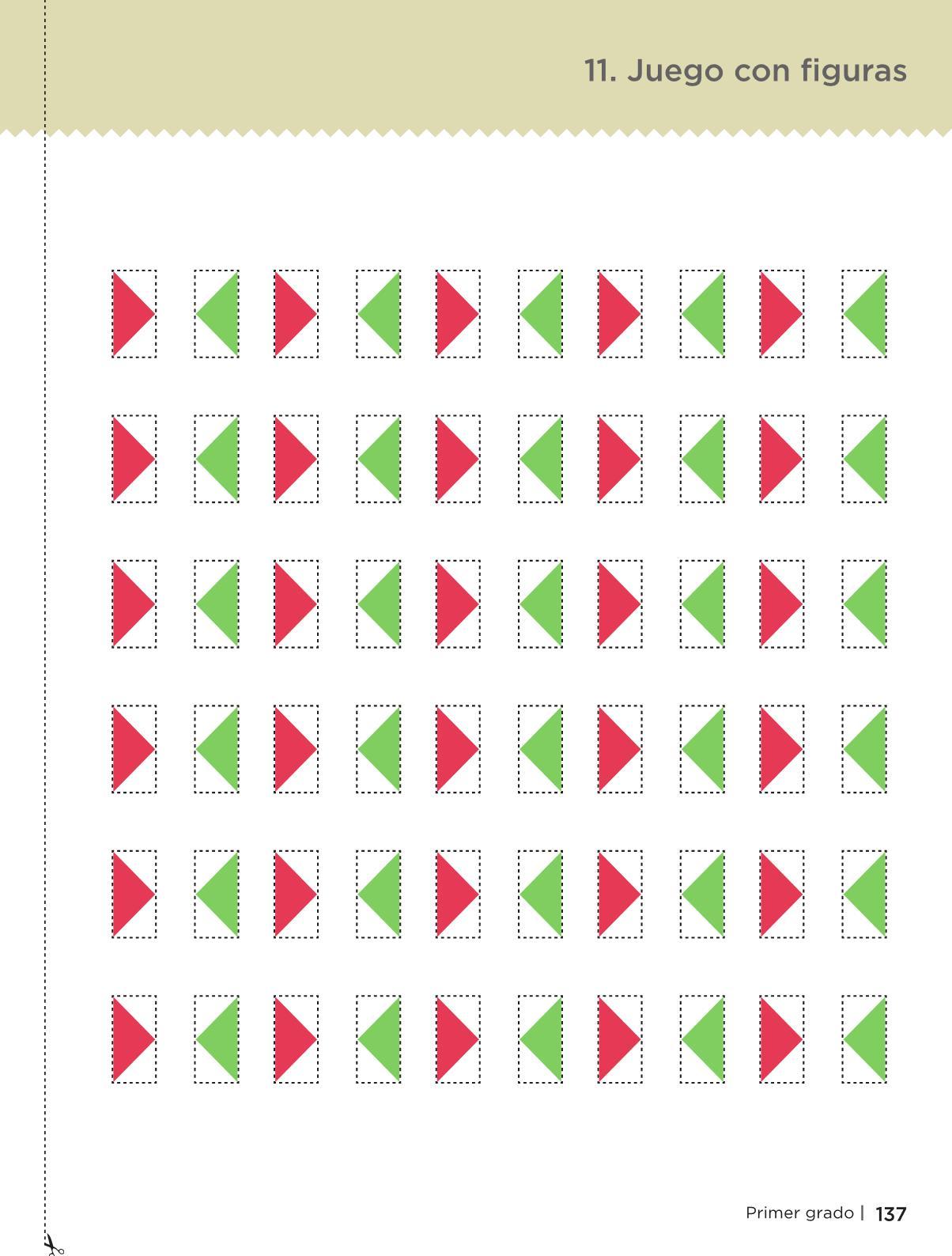 Libro de textoDesafíos MatemáticosJuego con figurasPrimer gradoContestado